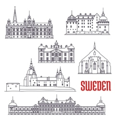 Historic buildings and sightseeings of sweden vector