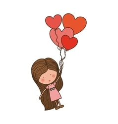 Girl dragged by heart-shaped balloons vector