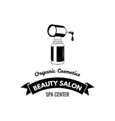 Beauty salon badge nail polish makeup ribbon logo vector