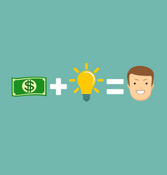 Money and ideas equal to happiness vector