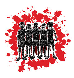 Stop child abuse group of children hugging vector