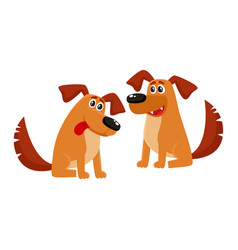 Two funny brown dog characters sitting friendly vector