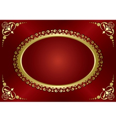 brown vintage card with gold frame vector image