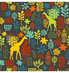 Seamless background with giraffe and flowers vector image