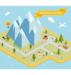 Travel banner paradise island isometric flat map vector