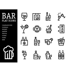 Bar alcohol icons drink beverage set vector