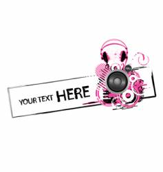 Grunge headphones design vector