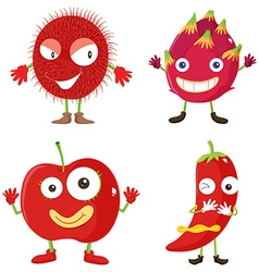 Set of red fruits and vegetables vector