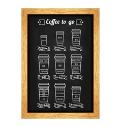 Coffee to go menu coffe types and recipe white vector