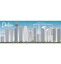 Doha skyline with grey skyscrapers and blue sky vector