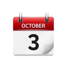 October 3 flat daily calendar icon date vector