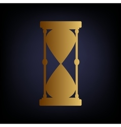 Hourglass sign golden style icon vector
