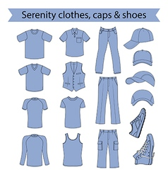 Menswear headgear shoes serenity color vector