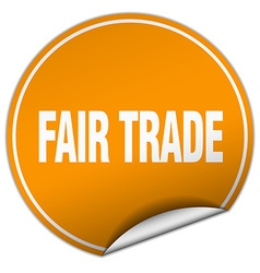 Fair trade round orange sticker isolated on white vector