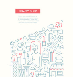 beauty shop - line design brochure poster template vector image
