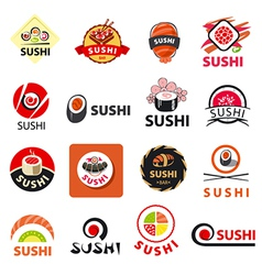 Biggest collection of logos sushi vector