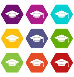 cap student icon set color hexahedron vector image