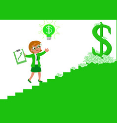 career woman climbing the staircase of success vector image vector image