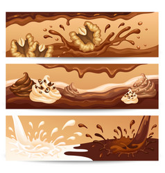 cartoon liquid chocolate horizontal banners vector image