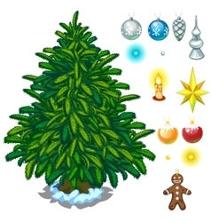 Christmas tree and big toy set for decoration vector image vector image