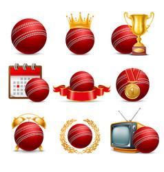 cricket icon set vector image vector image
