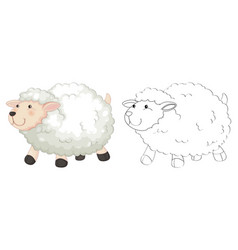 Doodle animal for fluffy sheep vector