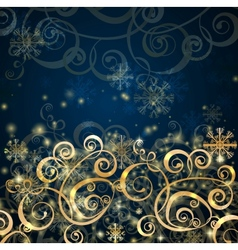 Elegant christmas dark blue with gold background vector