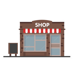 Facade shop store icon with signboard template vector