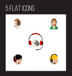 flat call set of secretary operator headphone vector image vector image