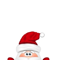 Funny Santa peeking out from the bottom edge of vector image