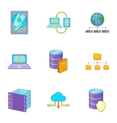 Hosting computer network service icons set vector image