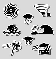 hurricane natural disaster problem stickers set vector image