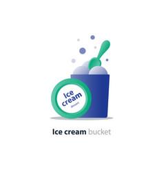 ice cream bucket dessert three scoops tasty flavor vector image vector image