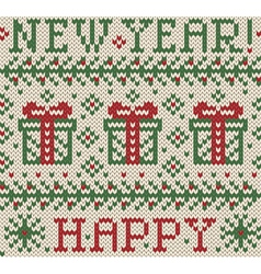 Knitted jacquard happy new year vector