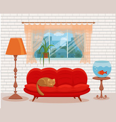 Living room cozy interior with colorful sofa vector