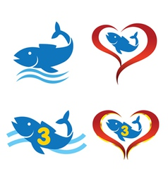 logo omega fish on heart vector image