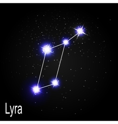 Lyra Constellation with Beautiful Bright Stars on vector image vector image