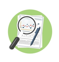 Magnifying glass pen and chart vector image