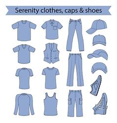Menswear headgear shoes serenity color vector