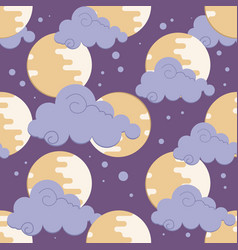 Moon in clouds pattern for chinese mid autumn vector