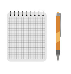 Notebook with a yellow pen vector