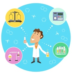 Scientist chemist in lab vector image vector image