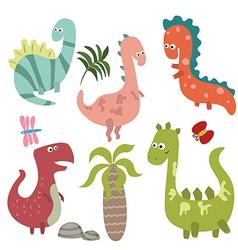 Set funny dinosaurs vector