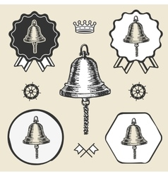 ship bell vintage sea naval symbol emblem label vector image