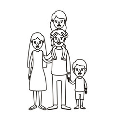Silhouette caricature family parents with girl on vector