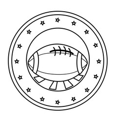 silhouette circular border with football ball and vector image