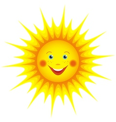 Smiling sun cartoon orange vector