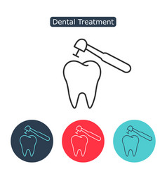 treatment of tooth icon vector image