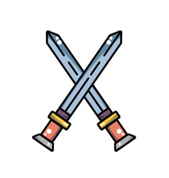 Videogame swords and medieval weapon vector
