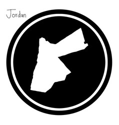 White map of jordan on black circle vector